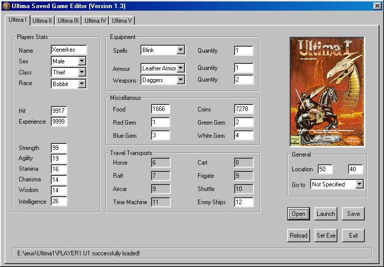 The Ultima Savegame Editor